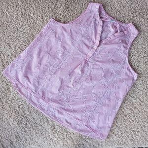 3/$30 Crown&Ivy Pink White Floral Stripe Tank XXL